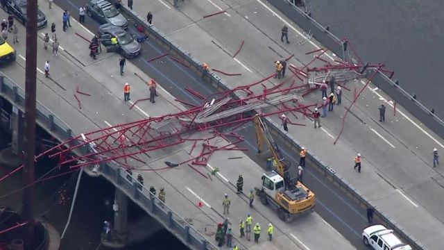 A collapsed crane on the Tappan Zee Bridge, New York.