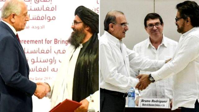 امضای توافق صلح کلمبیا و توافقنامه صلح میان آمریکا و طالبان (راست)