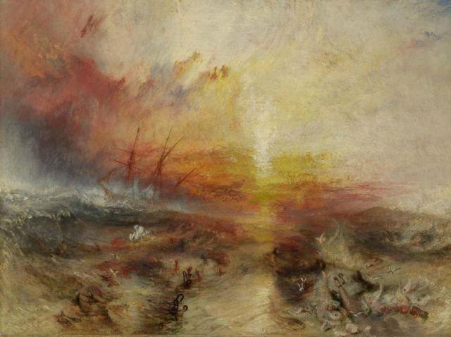 Pintura 'Navio Negreiro', de William Turner, em exposição no Museu de Belas Artes de Boston