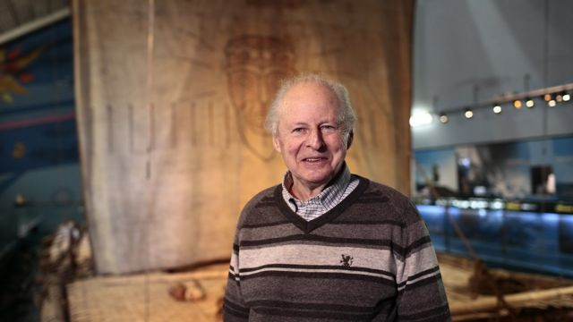 Thor Heyerdahl en el museo Kon Tiki