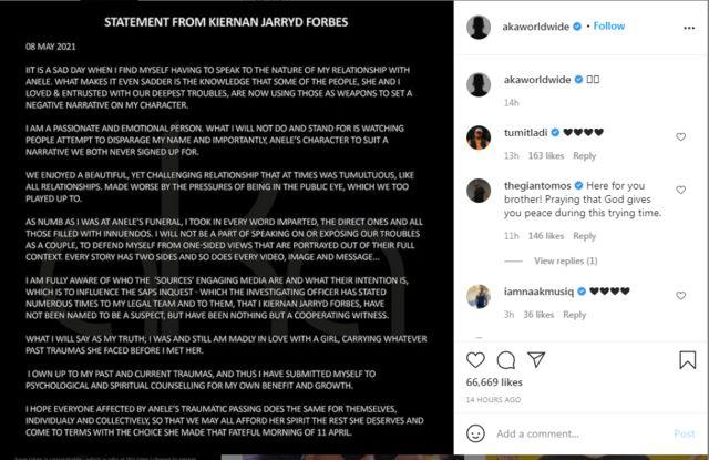 """""""AKA breaks down door"""": 'Rapper Kiernan Forbes statement on fiancée Anele Tembe death' as viral video allege abuse"""