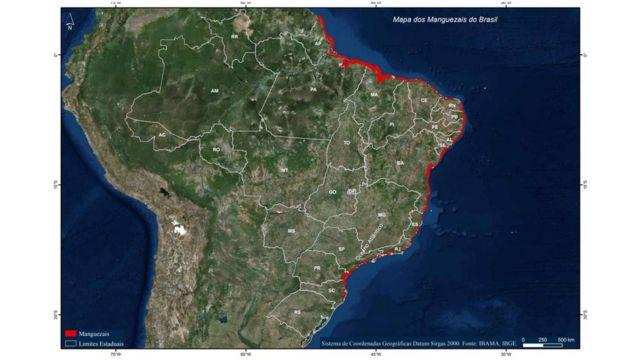Mapa dos Manguezais do Brasil produzido pelo Ibama