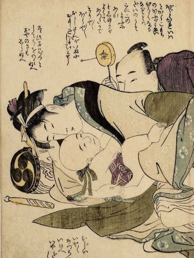 赤ちゃんが描かれた春画、喜多川歌麿作「艶本床の梅」より(一部)。国際日本文化研究センター所蔵。