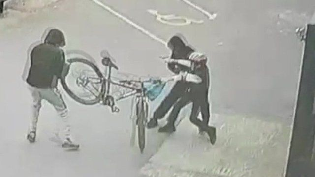 CCTV of the bike being stolen