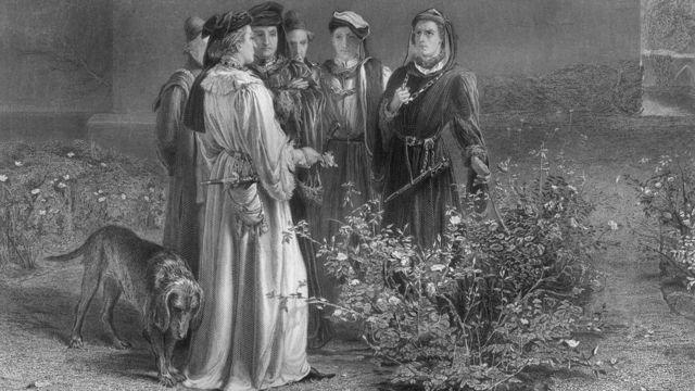Гравюра: Йорки и Ланкастеры выбирают розы