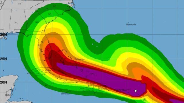 Mapa con la fuerza del viento prevista por el huracán Irma, a 6 de septiembre de 2017.