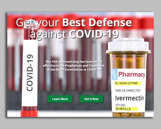 """Un sito web con la imagen de un frasco de ivermectina diciendo: """"Toma la mejor defensa contra covid-19"""""""