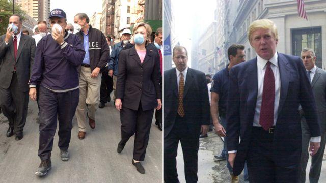 2001年9月11日の米同時多発テロの翌日、ニューヨーク州選出の上院議員だったクリントンは攻撃現場を視察。トランプは1週間後、ニューヨーク証券取引所前で取材に答えた。