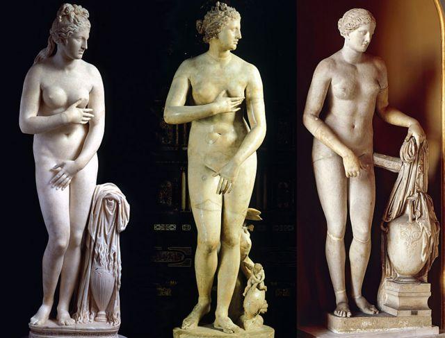 Venus Capitolina (II or III BC), Venus de Medici (I BC) and Colonna Venus