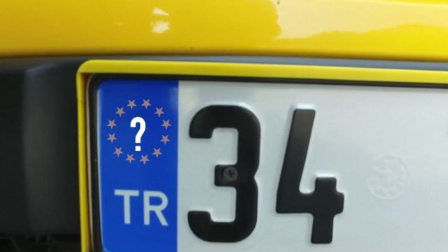 BBC graphic of Turkish car number plate with EU question mark