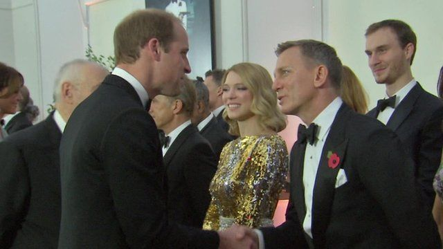 6f2f34966ee8 Royal family rub shoulders with Bond stars at premiere - BBC News