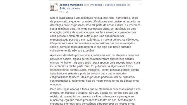Post de Joanna Maranhão no Facebook