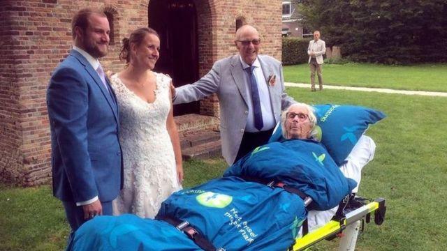 An elderly woman taken to a hastily arranged wedding
