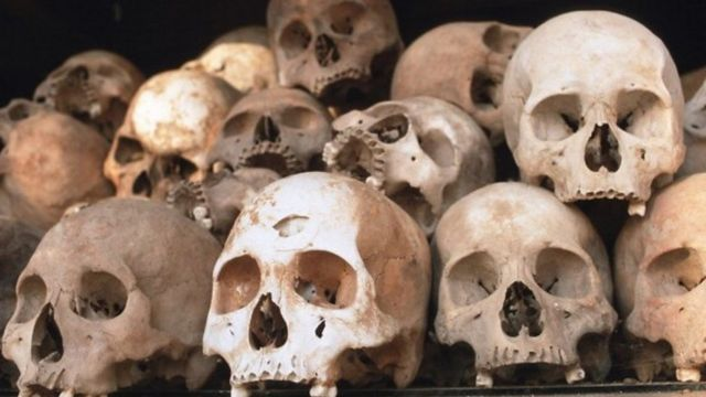 Skulls piled up near Phnom Penh