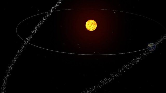 A graphic showing the Earth passing through a trail of comet debris as the planet circles the Sun