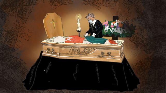 Ilustração mostra agente funerário cobrindo corpo com roupas
