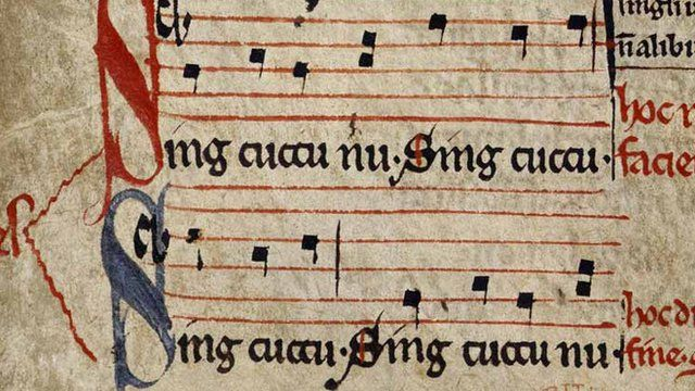 Detail from manuscript of Sumer Is Icumen In