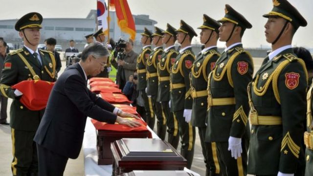 2016年,朝鲜战争结束逾六十年后,36名在韩国阵亡中国士兵的遗骸将被运返归国。