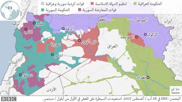خريطة سوريا والعراق ومواقع داعش