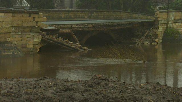 Collapsed bridge in Tadcaster