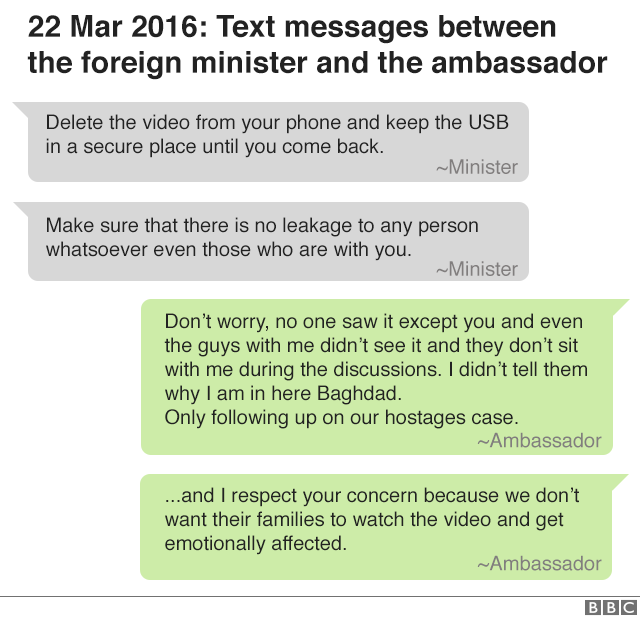 22 March 2016: text messages between the foreign minister and ambassador