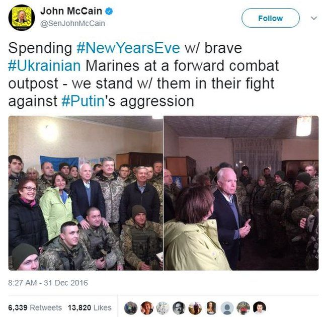 A picture showing Senator McCain during his trip to meet Ukraine's marines in December 2016