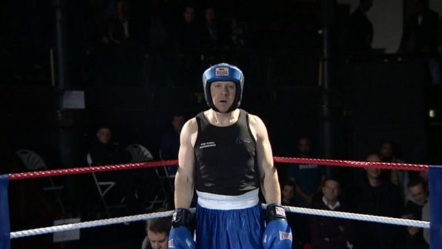 Richard Love in the boxing ring for his first fight