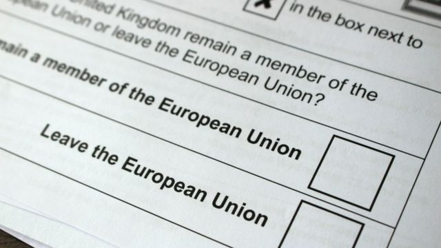 Una papeleta del referendo de Reino Unido para decidir quedarse o salir de la Unión Europea.