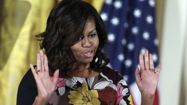 """First lady Michelle Obama speaks at a Mayor's Challenge to End Veterans"""" Homelessness event on, Monday, Nov. 14, 2016."""