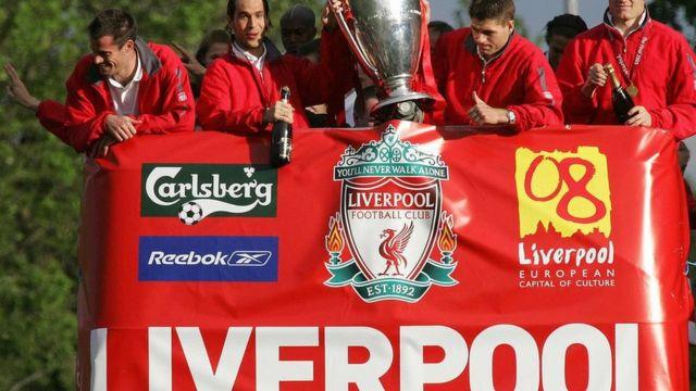 'Yan wasan Liverpool sun ci gasar zakarun Turai a shekarar 2005 bayan sun doke AC Milan wadda ta fara cinsu kwallaye uku