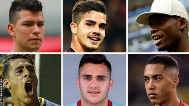 De izquierda a derecha y de arriba hacia abajo Hirving Lozano, Andre Silva, Breel Embolo, Youri Tielñemans, Maxi Gómez y Cristian Pavón