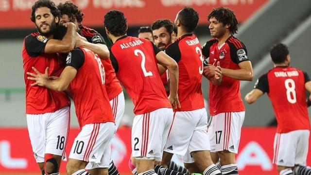 Les Pharaons d'Egypte célèbrent un but marqué par Mohamed Sallah