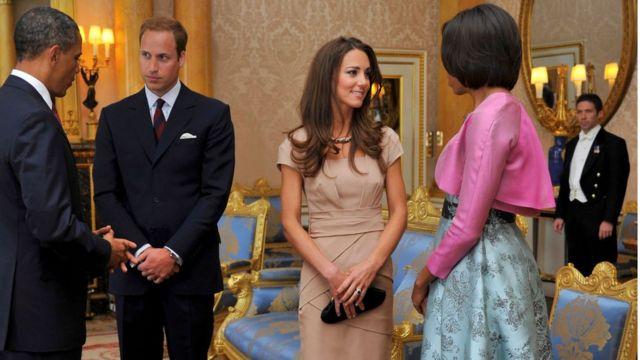 دوقا كامبريدج رفقة أوباما وزوجته في قصر بكنغهام في مايو/أيار 2011