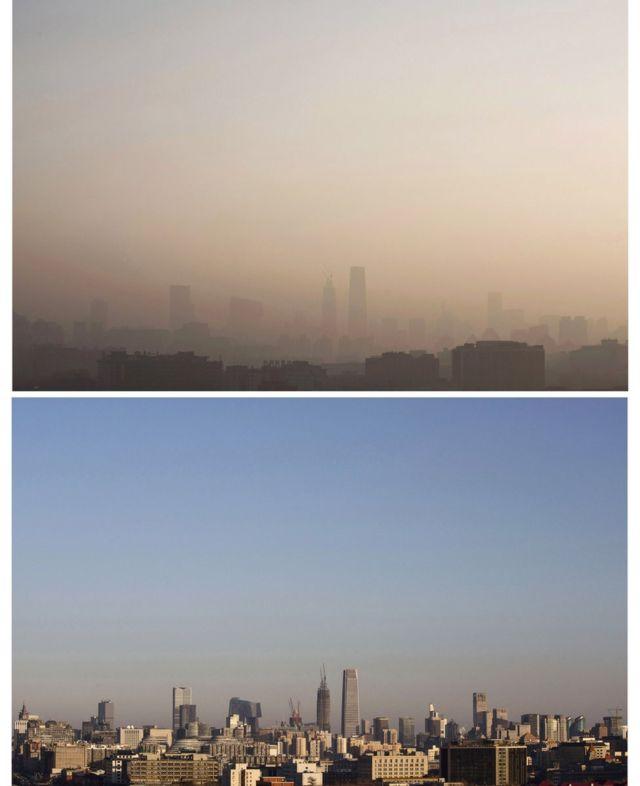 「赤色警報」中と後の北京の空