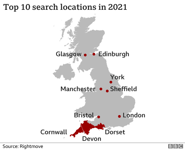 Map showing top 10 search locations