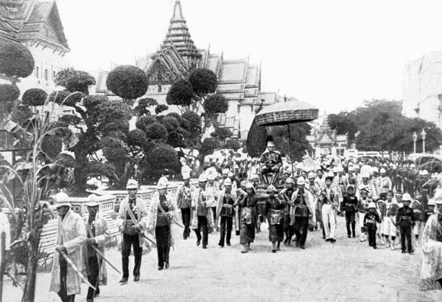 Thailand, 1910, After the funeral of his father H, M, Chulalongkorn, new King of Siam, H, M, Maha Vajiravudh going back to his palace in Bangkok
