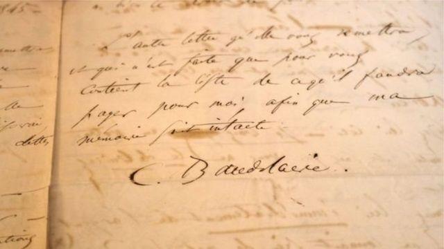 Лист з підписом Бодлера