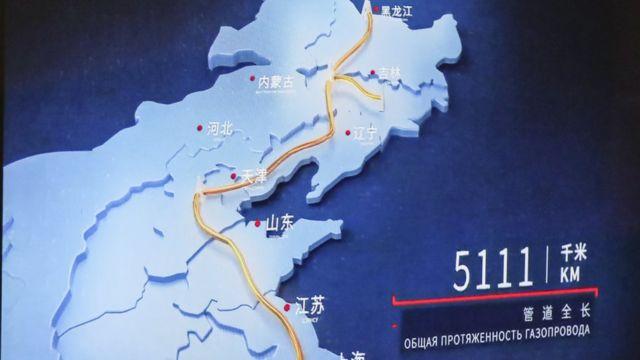 Mapa del gasoducto Fuerza de Siberia