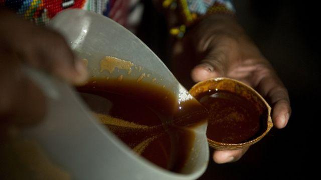 Jarra con ayahuasca