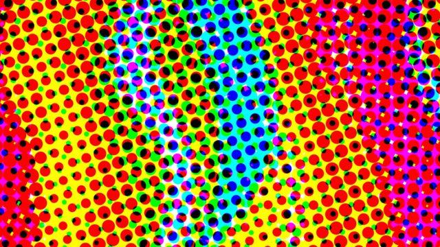 imagem com bolinhas colorida simulando uma viagem psicodélica