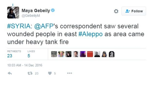 AFP jurnalisti Maya Gebeily-nin paylaşdığı tvit