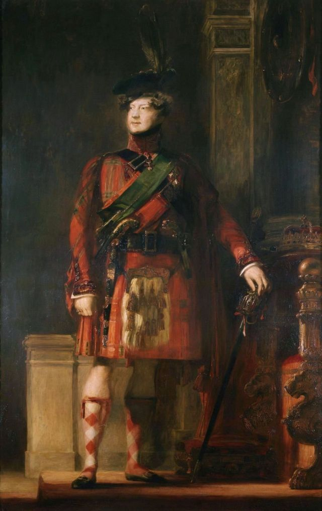 Георг IV в шотландском костюме., портрет работы Дейвида Уилки