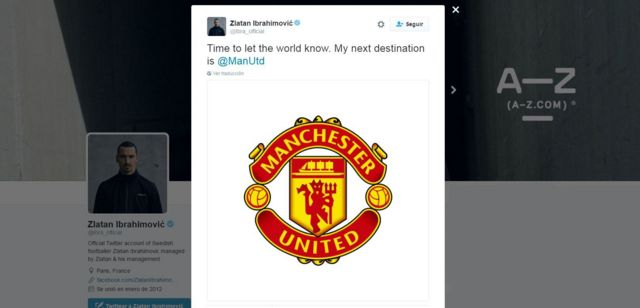 Zlatan Ibrahimovic en Twitter