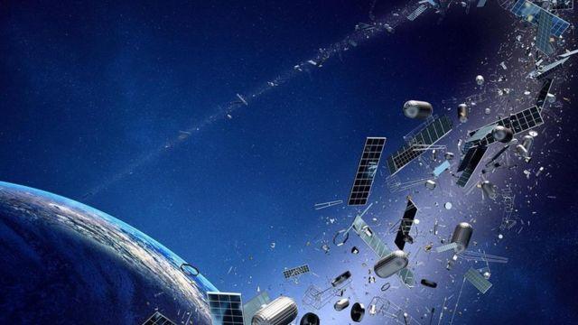 Ilustração de lixo espacial