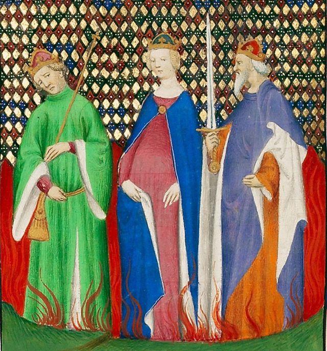 Tiberio, Mesalina y Calígula se reprochan en medio de las llamas en esta obra de autor desconocido pintada circa 1415.