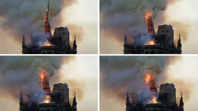 Images showing the collapse of the spire