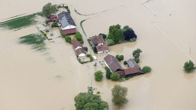 An aerial view of submerged houses following floods in Bavarian village of Simbach am Inn east of Munich