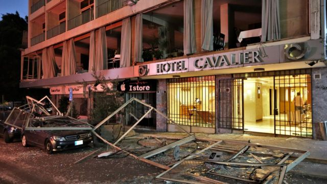 黎巴嫩貝魯特港區附近一家酒店受損情況(4/8/2020)
