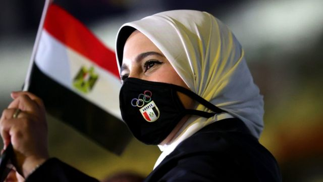A member of Team Egypt waves a flag during the Opening Ceremony of the Tokyo 2020 Olympic Games at Olympic Stadium on July 23, 2021 in Tokyo, Japan.