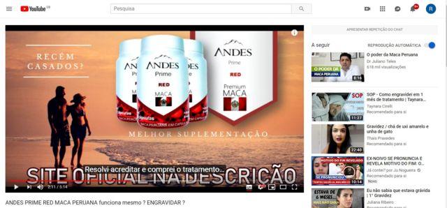 Imagem mostra canal do YouTube divulgando kit para engravidar